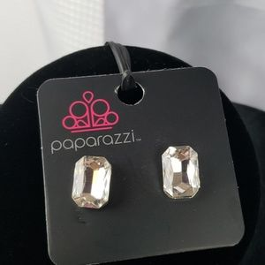 New Earrings POST Silver with large Faceted CZS